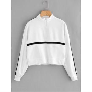 Tops - Striped Half-Zip Sweatshirt